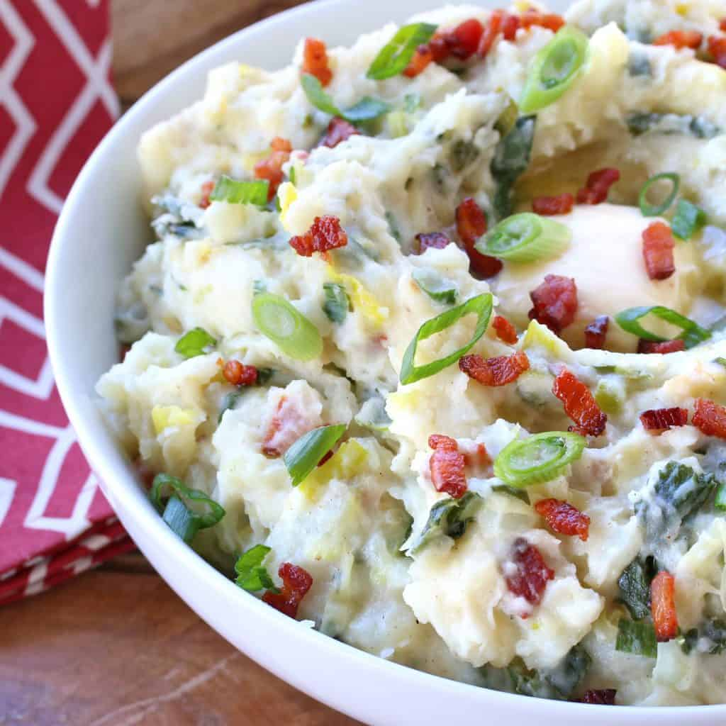 best irish colcannon recipe loaded bacon kale cabbage leek green onions white cheddar cheese cream butter