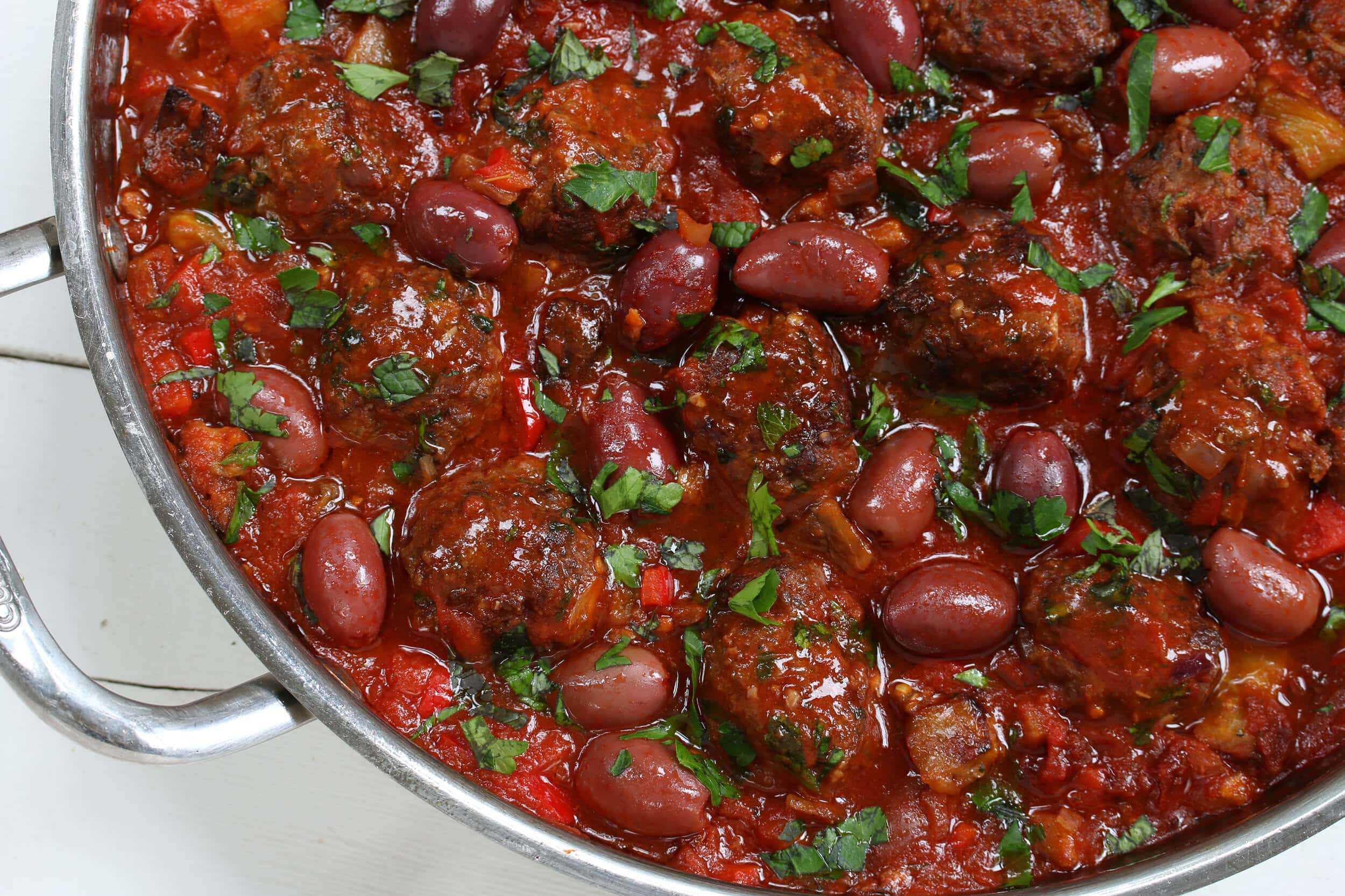 Greek Red Pepper And Feta Turkey Meatball Salad Recipe — Dishmaps