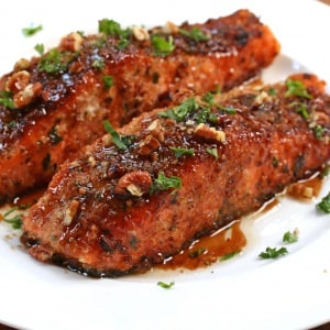 Pecan-Crusted Salmon with Bacon Fat Maple Glaze