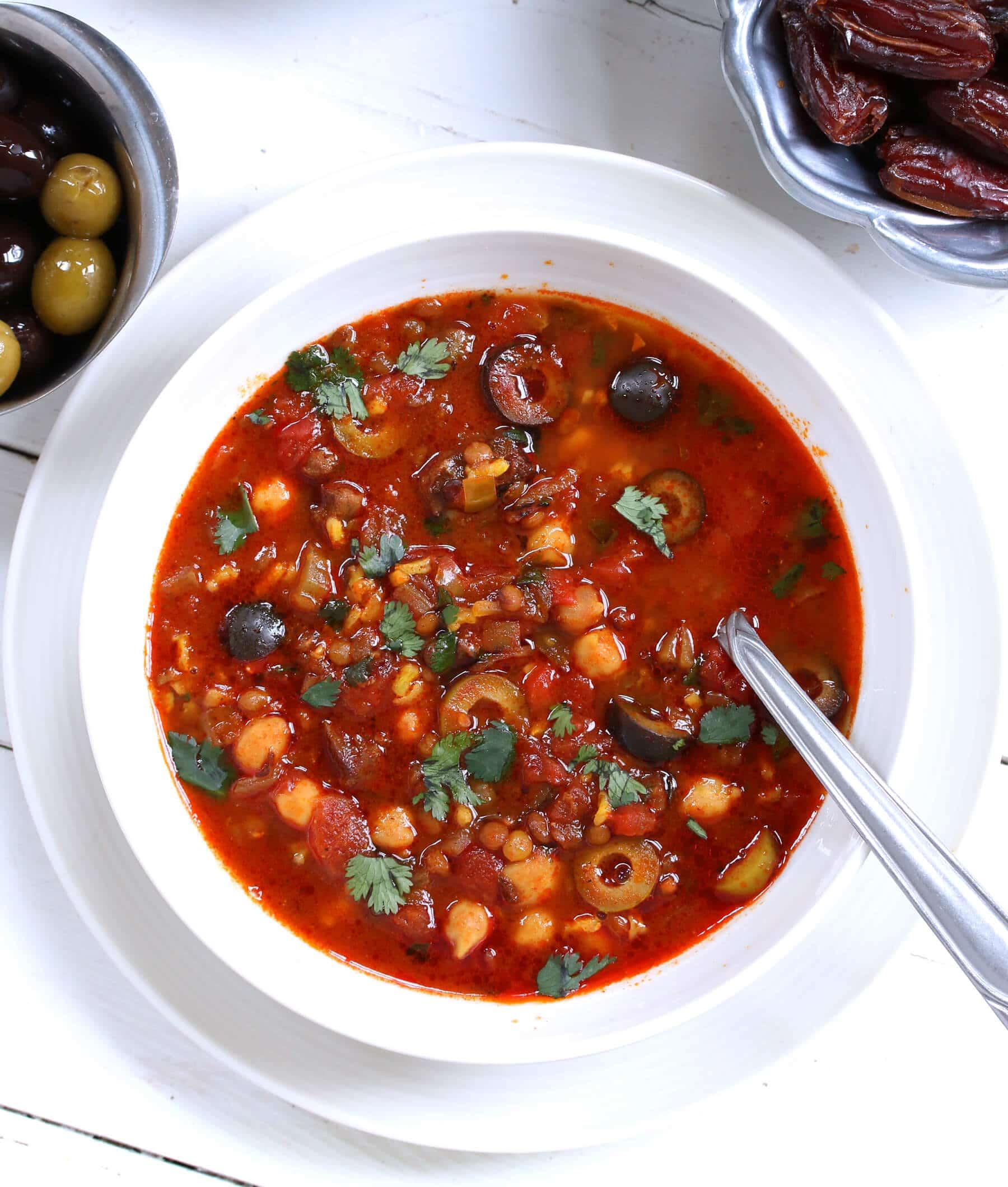 moroccan harira soup stew recipe beef lamb chickpeas garbanzo beans lentils ramadan