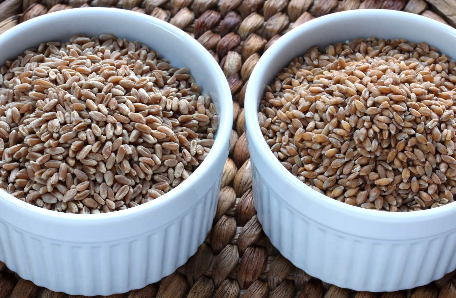 whole grains in white bowls