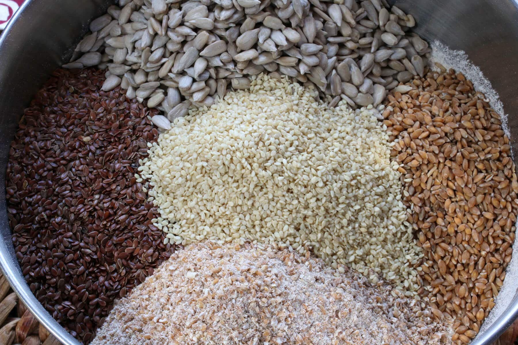 grains seeds and flour in bowl