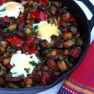 Portuguese Potato Hash with Linguica, Peppers & Olives