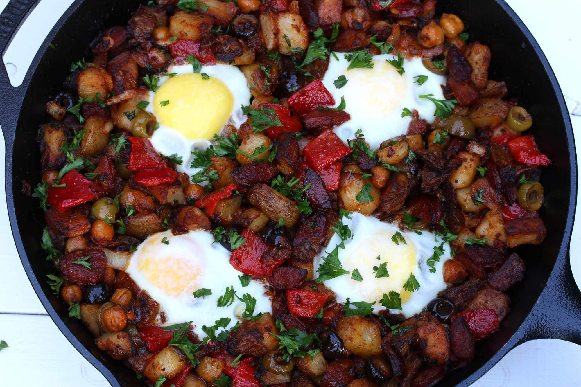 portuguese potato hash linquica sausage olives garbanzo beans chickpeas roasted peppers recipe