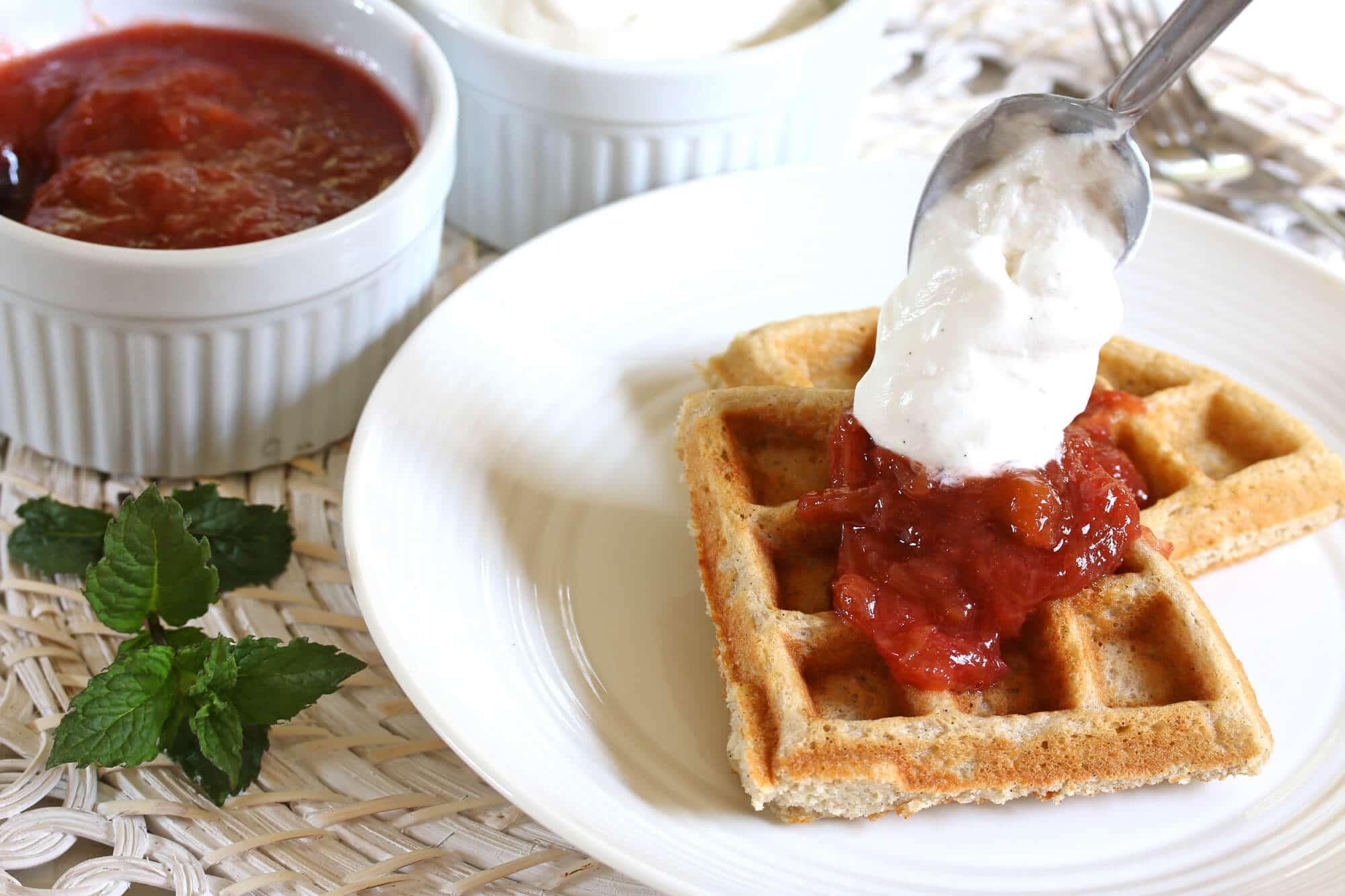 Oat & Buckwheat Waffles with Rhubarb Compote & Vanilla ...