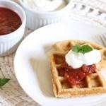 Oat & Buckwheat Waffles with Rhubarb Compote & Vanilla Cream (Gluten Free)