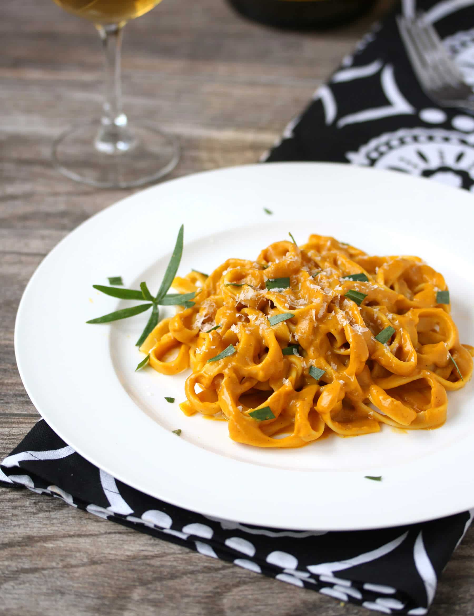 sweet potato fettuccine alfredo recipe parmesan cheese roasted garlic shallots