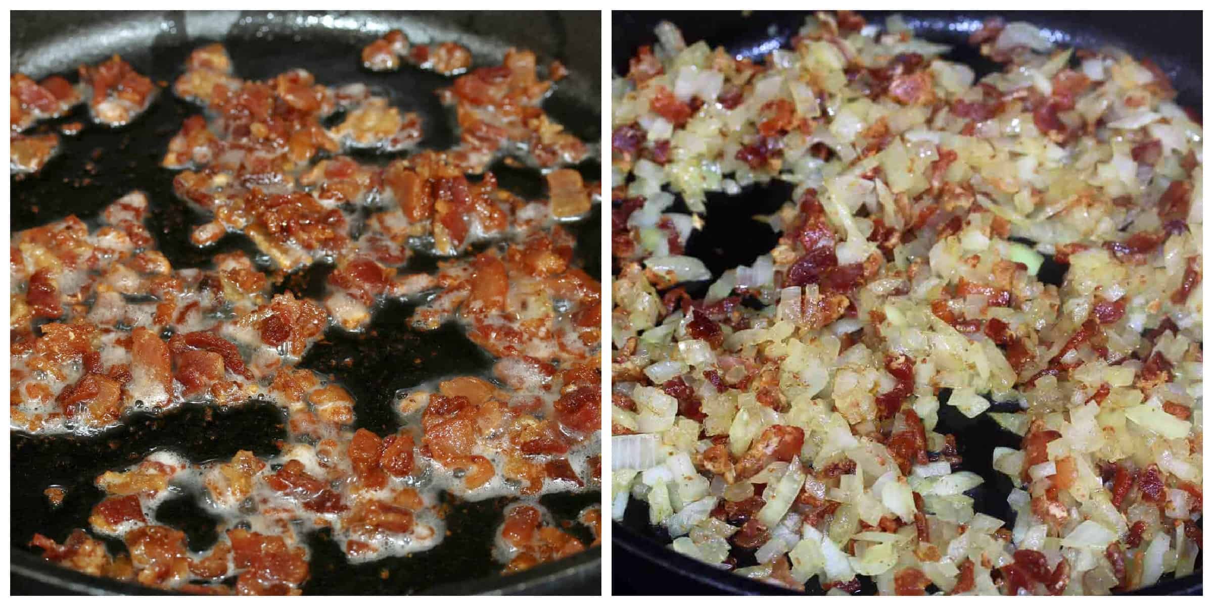 frying bacon and onions