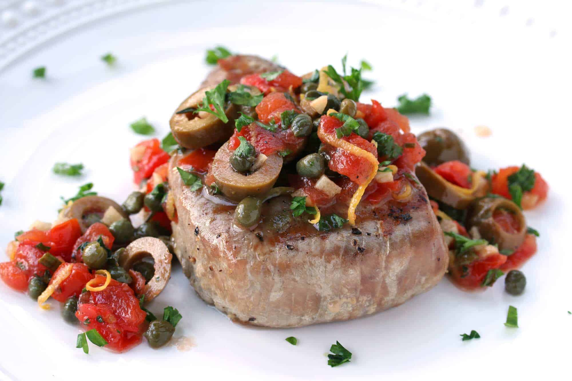 sicilian style grilled tuna steaks recipe olives capers tomatoes lemon ...