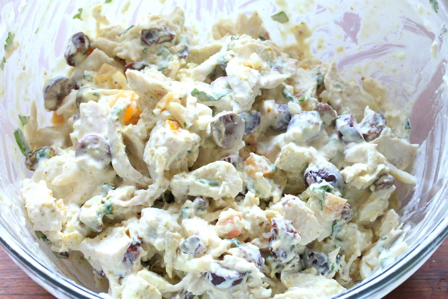 moroccan chicken salad olives apricots nuts almonds cilantro mayonnaise curry preserved lemons recipe