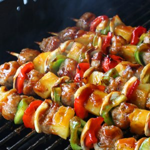 Grilled Sweet & Sour Veal Meatball Kabobs