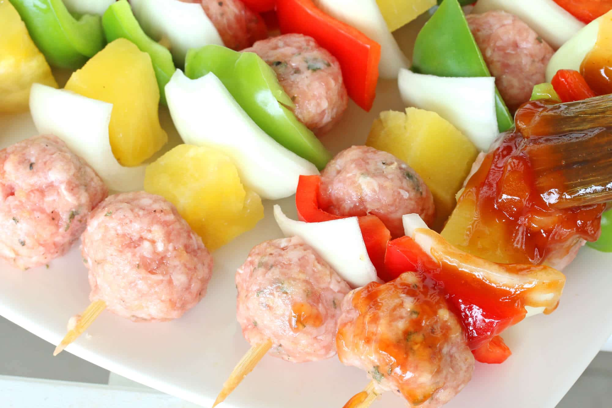 meatball kabobs kebabs recipe grilled sweet sour sauce veal beef chicken pork lamb healthy pineapple vegetables low sugar gluten free