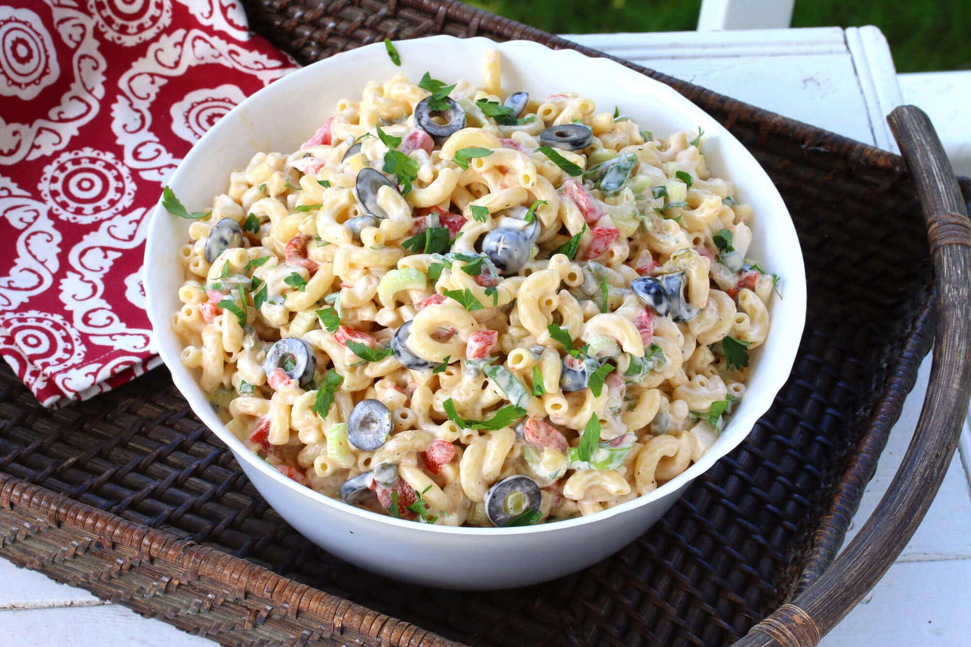 best macaroni salad recipe peppers olives capers mayonnaise moist flavorful celery onions