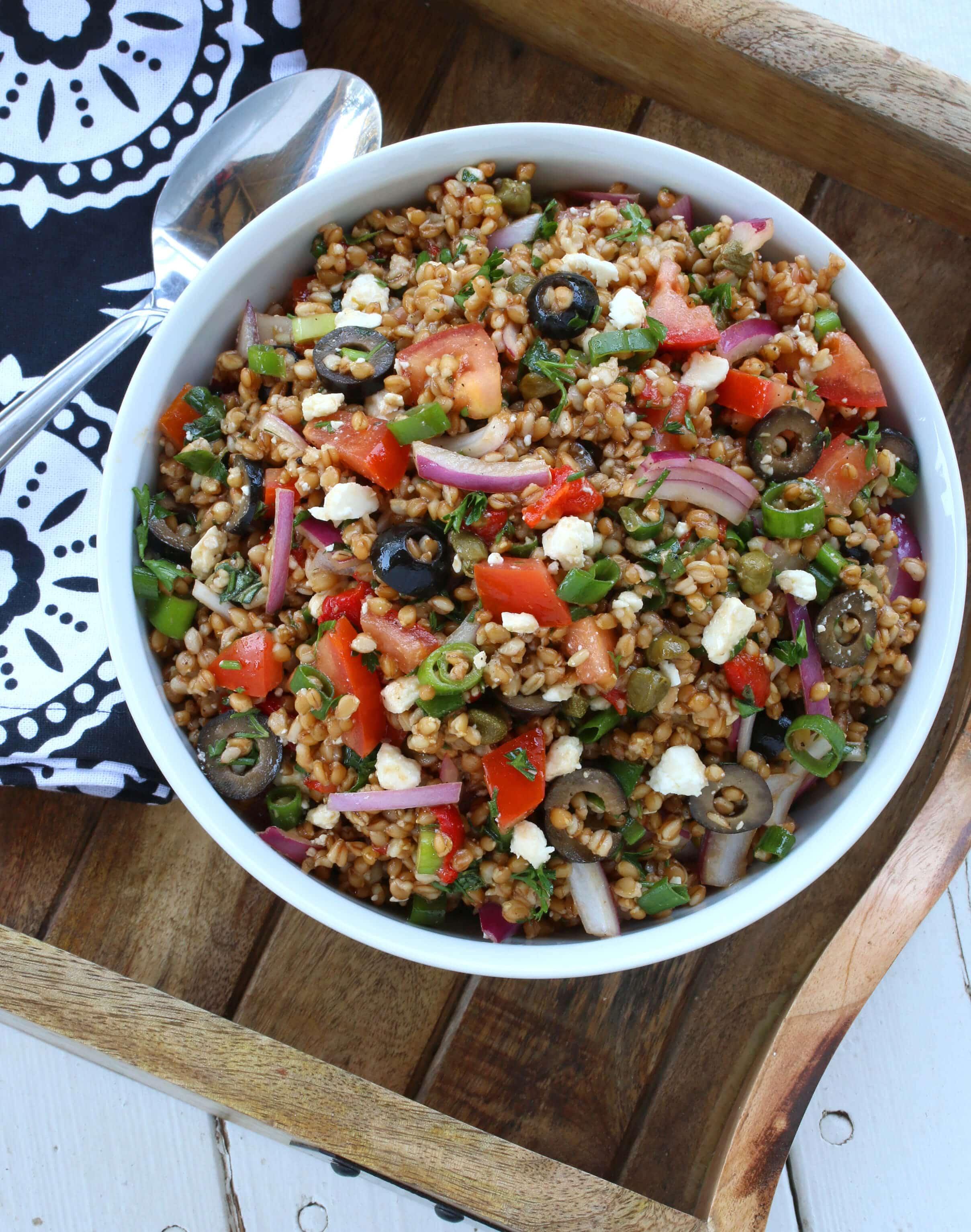 greek einkorn wheat berry salad recipe