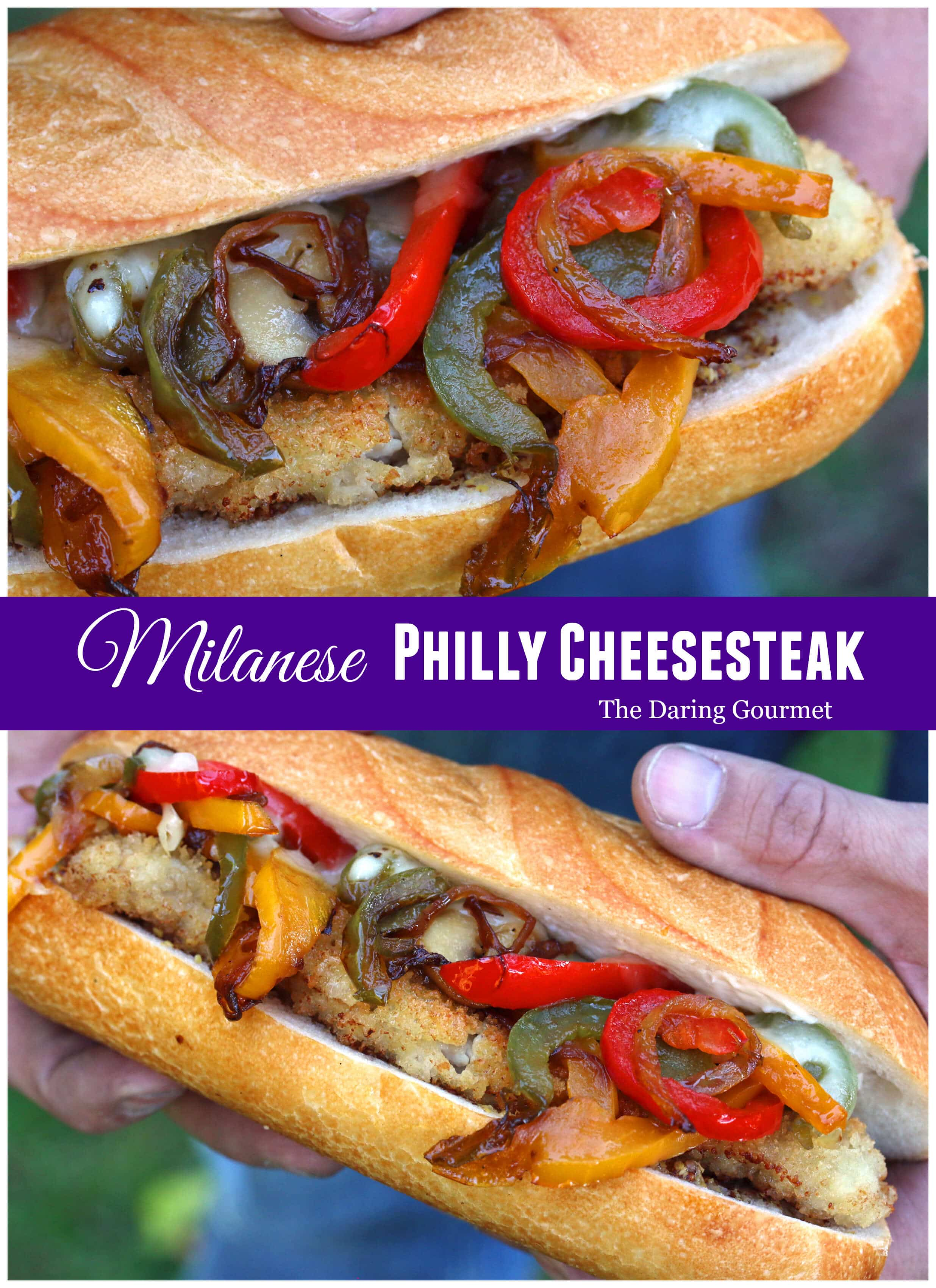 milanese philly cheesesteak breaded cutlet veal beef chicken pork turkey peppers cheese onions recipe