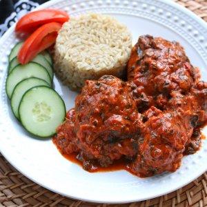West African Plasas (Chicken in Peanut, Spinach & Tomato Sauce)