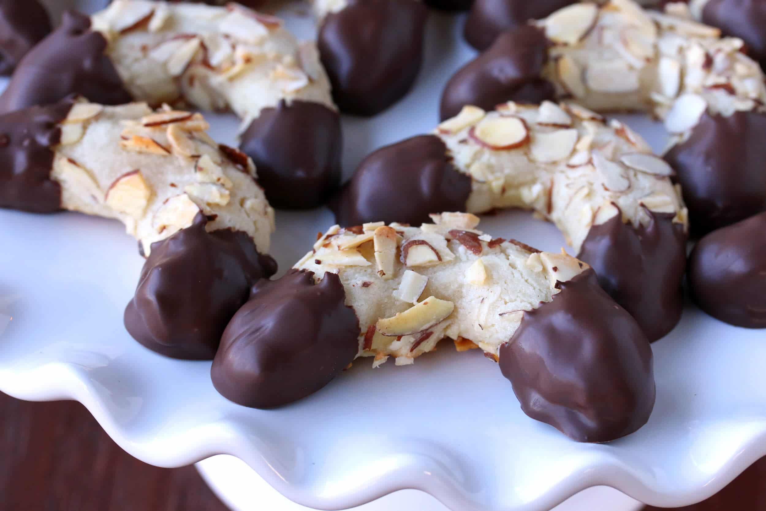 Mandelhörnchen (Chocolate-Dipped Marzipan Almond Horns) - The Daring ...