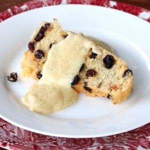 Traditional Spotted Dick (English Steamed Currant Pudding with Vanilla Custard)