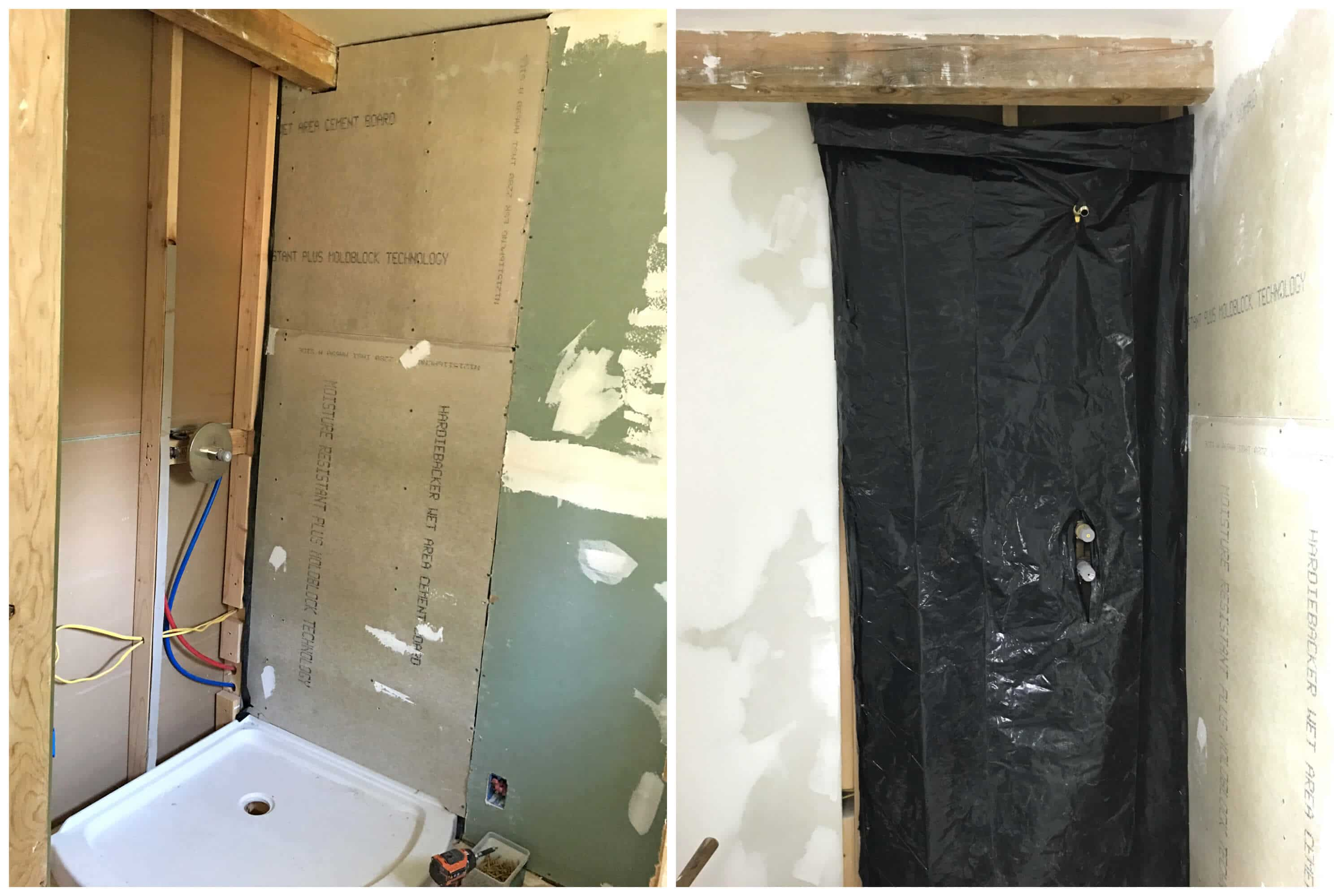 After the cement boards were installed and the joints grouted  we painted on a rubberized moisture barrier over the entire cement board surface. The Micro Dwelling Project Part 6  The Bathroom   The Daring Gourmet