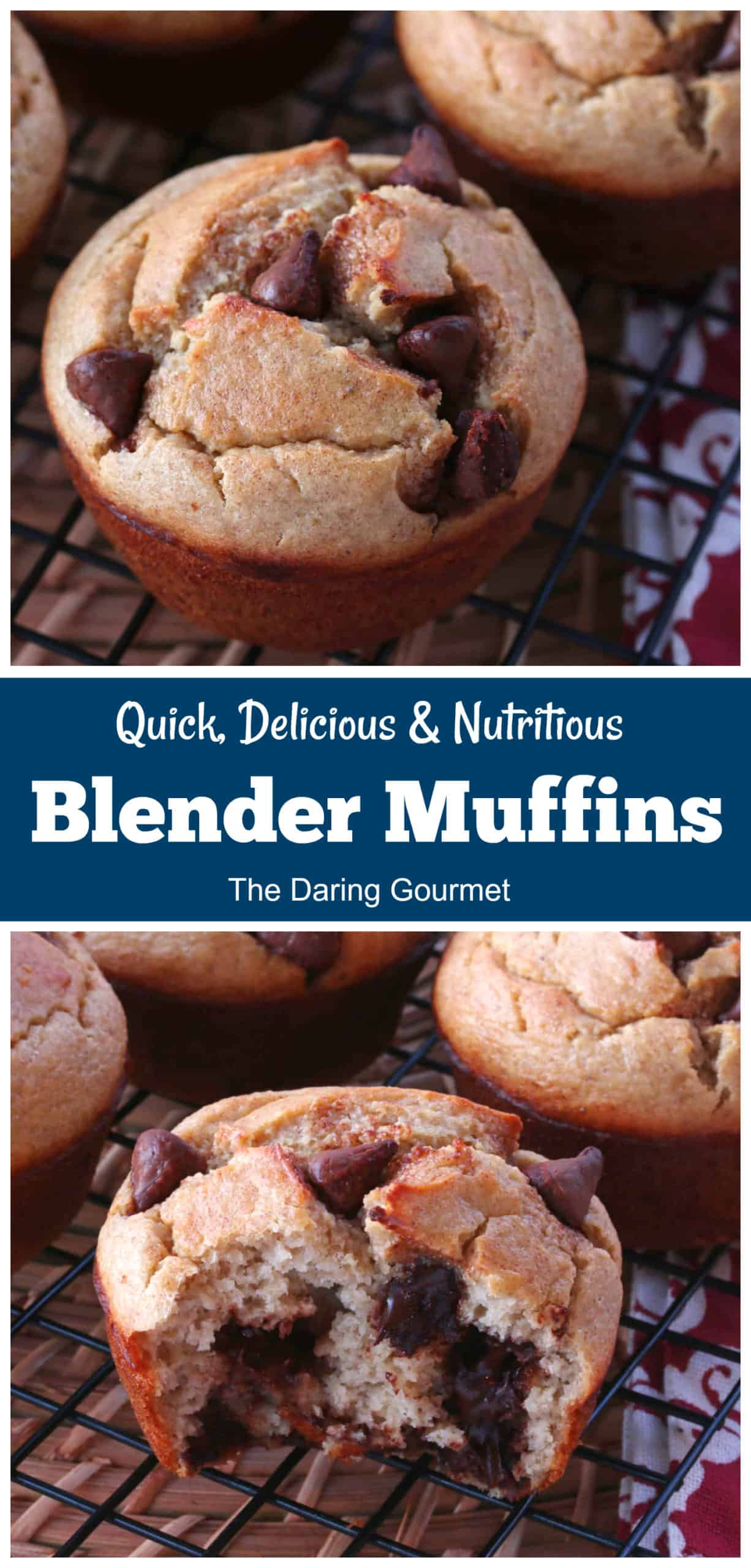 blender muffins recipe easy healthy without flour sugar oil gluten free chocolate chips banana