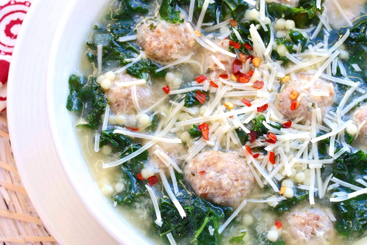 Italian wedding soup recipe best traditional authentic meatballs pasta kale cheese