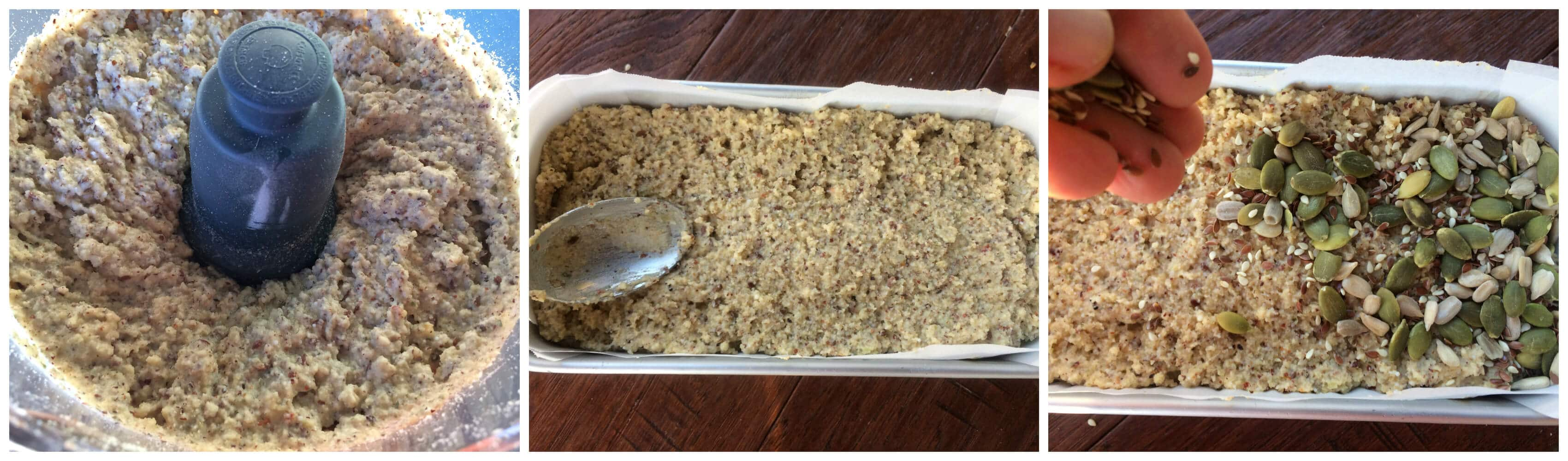 pulsing ingredients in food processor and spooning into loaf pan