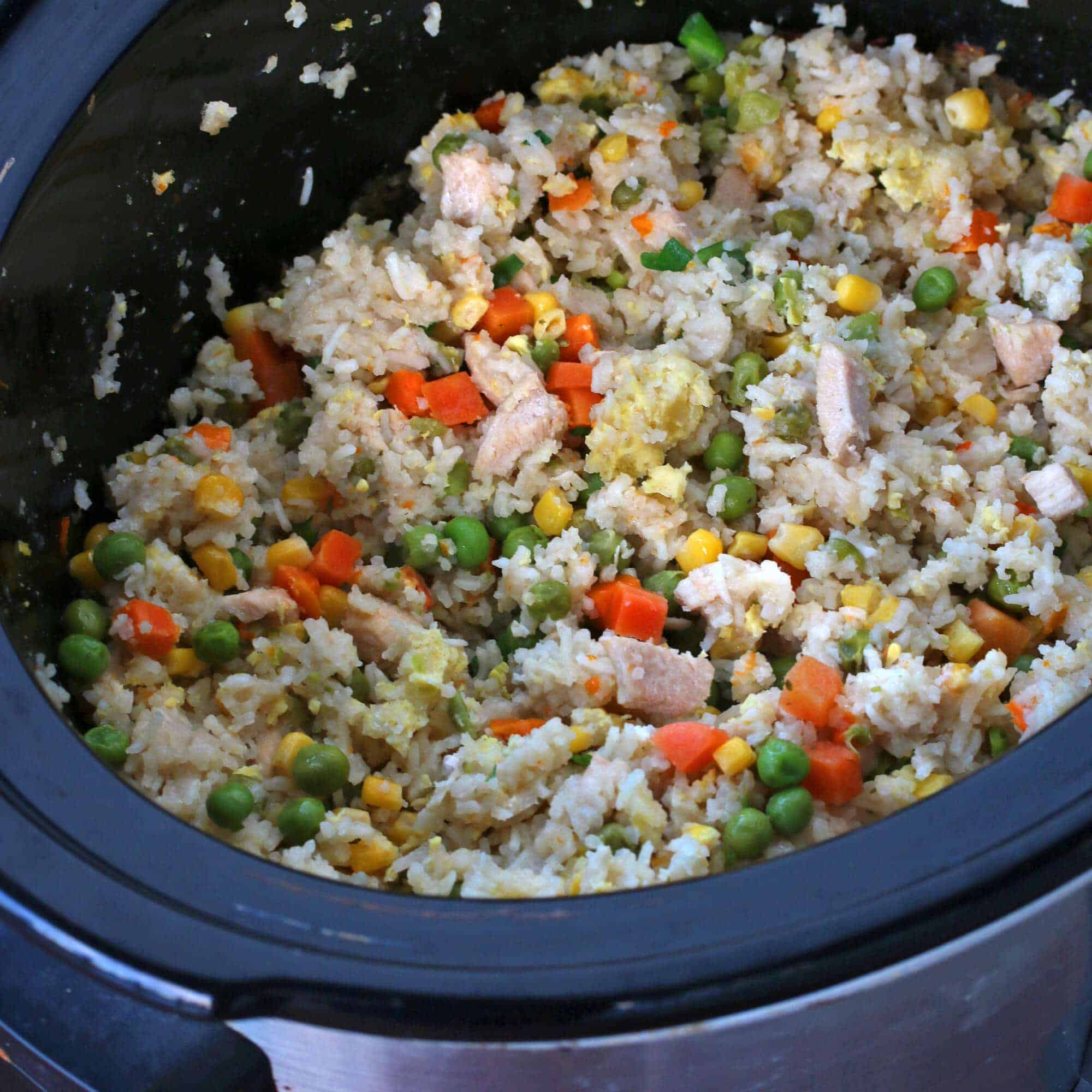 slow cooker chinese fried rice the daring gourmet. Black Bedroom Furniture Sets. Home Design Ideas