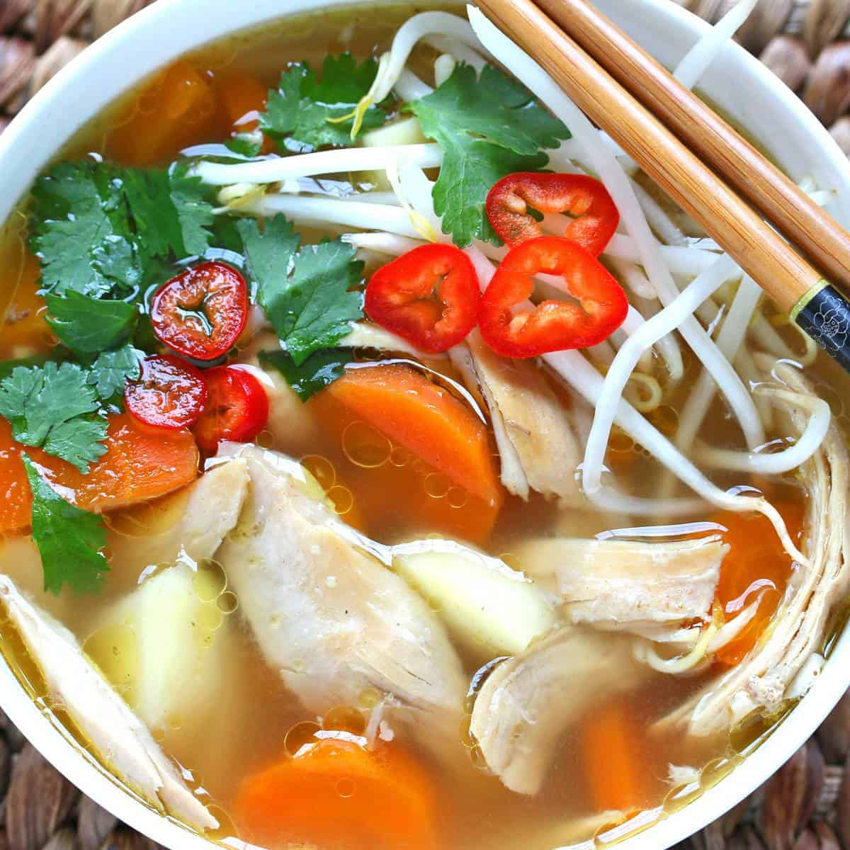 Asian chicken soup recipe Chinese Indonesian Thai vegetables spices spiced lemongrass healthy gluten free