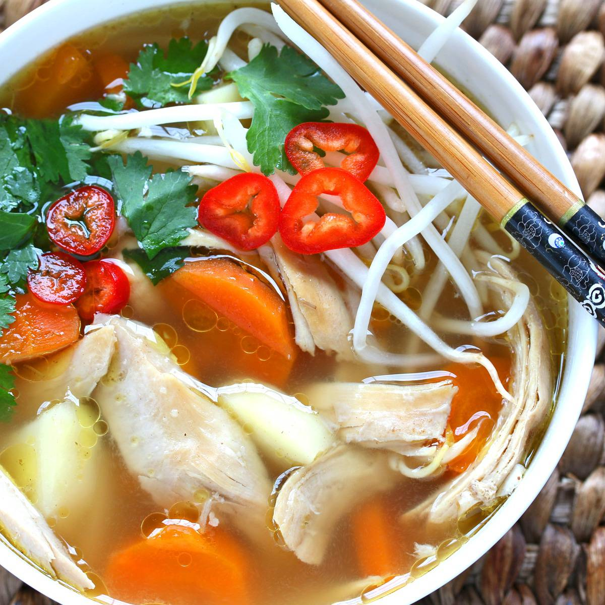 Asian chicken soup recipe Chinese Indonesian Thai vegetable bean sprouts gluten free healthy