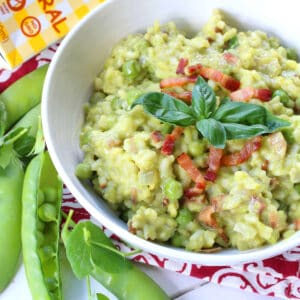 pea risotto recipe bacon basil parmesan cheese aneto broth