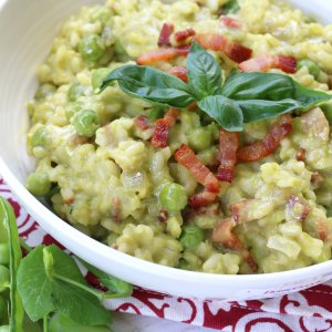 Sweet Pea Risotto with Basil & Pancetta