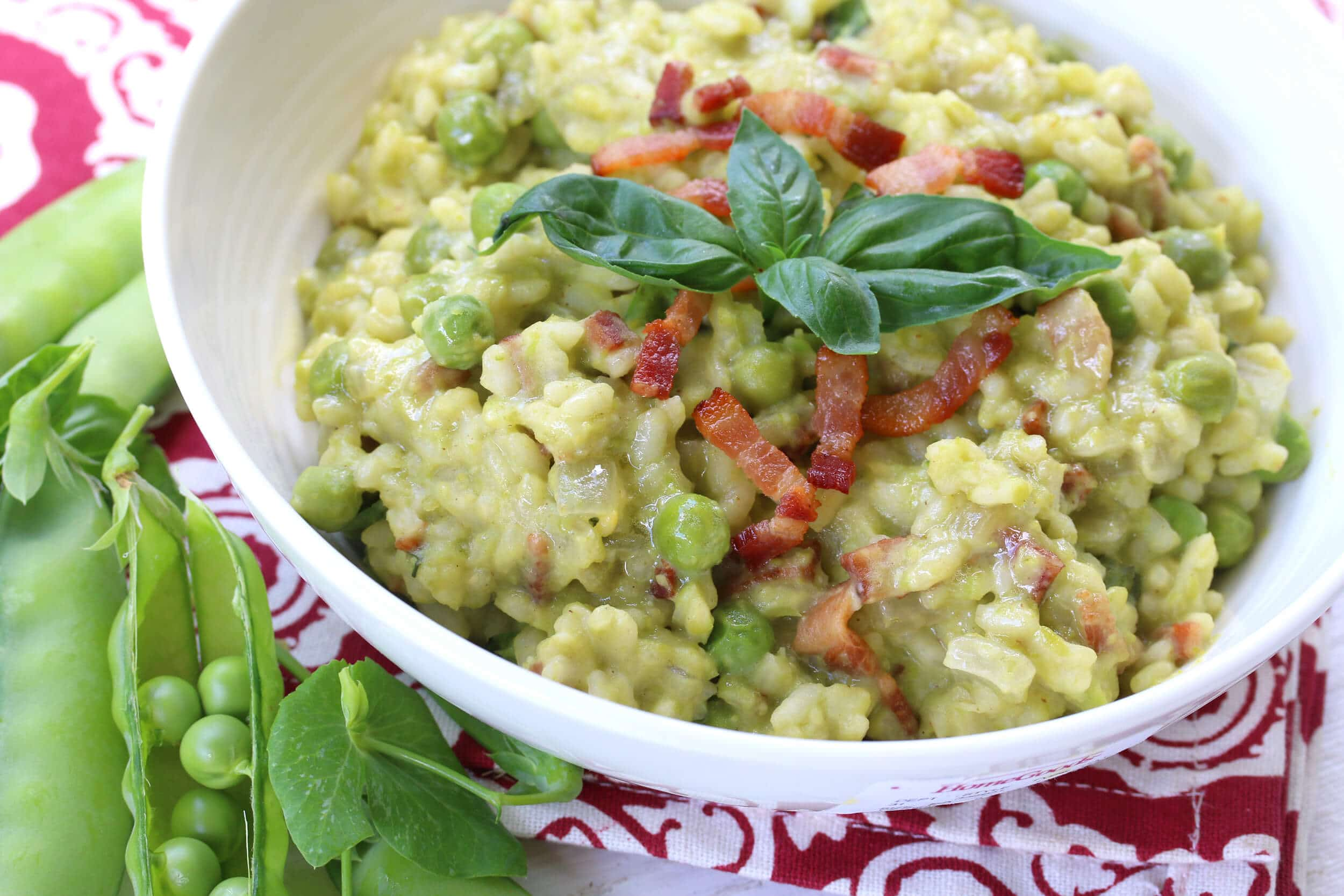 sweet pea risotto recipe basil bacon wine aneto broth