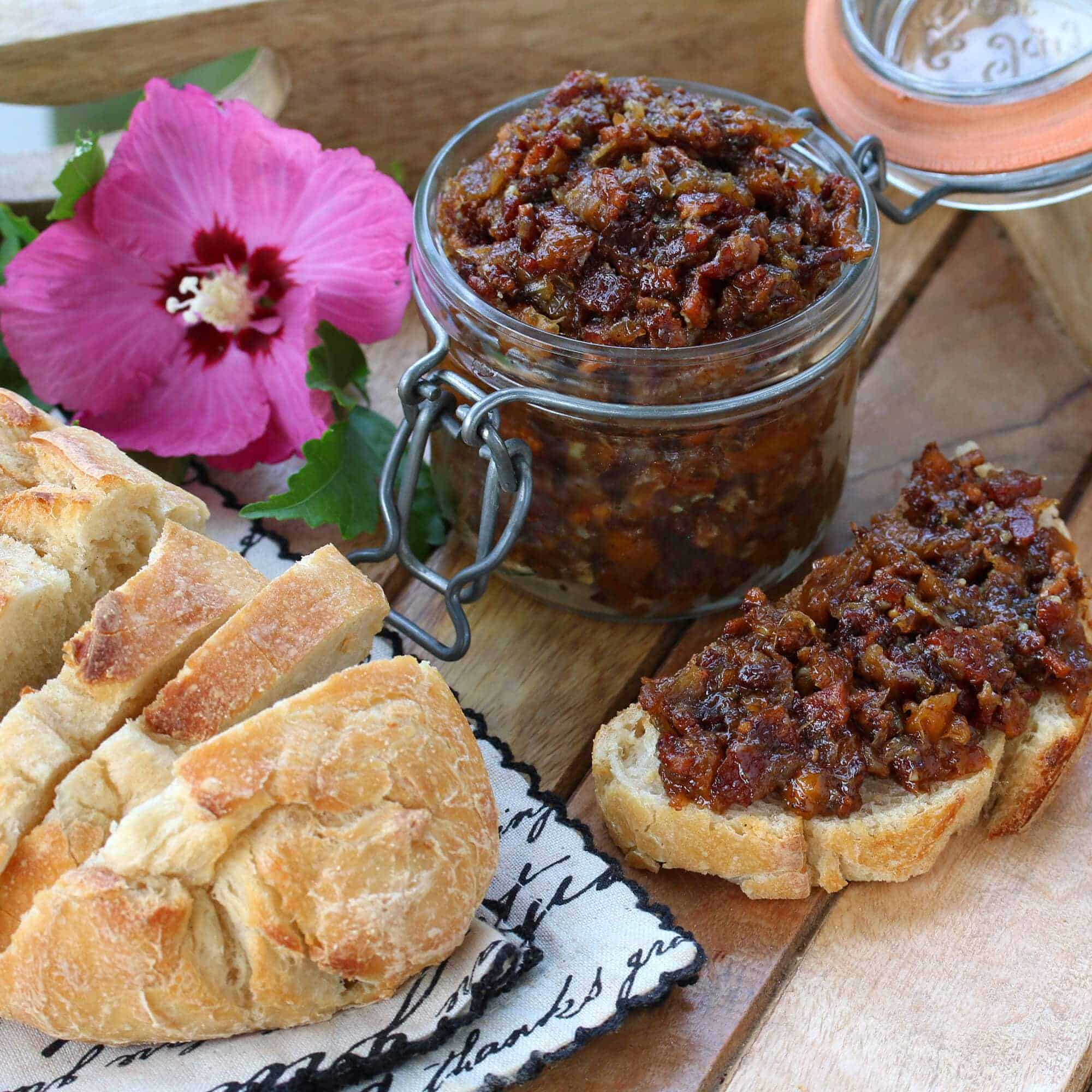 peach bacon jam recipe spread condiment bread sandwiches hors d'oeuvres appetizer entertaining