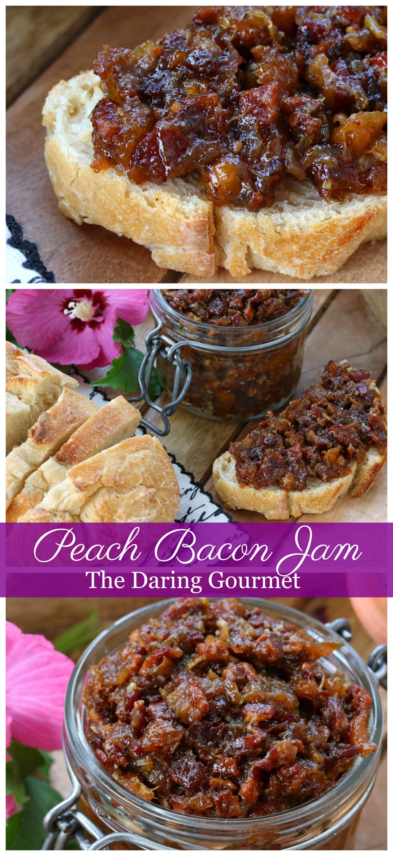 peach bacon jam recipe entertaining hors d'oeuvres entertaining appetizer caramelized onions thyme spread bread condiment