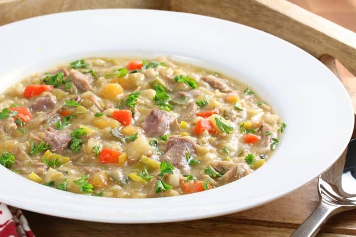 traditional authentic scotch broth recipe lamb beef leek cabbage turnips rutabagas parsnips vegetables healthy barley split peas aneto
