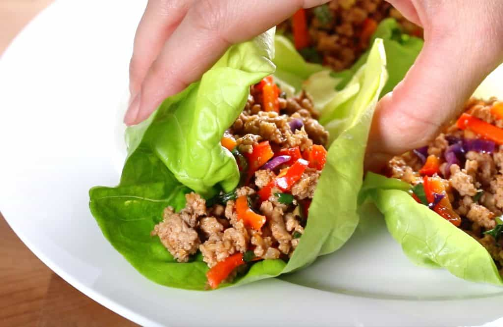 thai lettuce wraps recipe healthy paleo gluten free low carb low calorie easy veal pork chicken beef turkey lemongrass asian bell peppers cabbage carrots nuts cashews peanuts