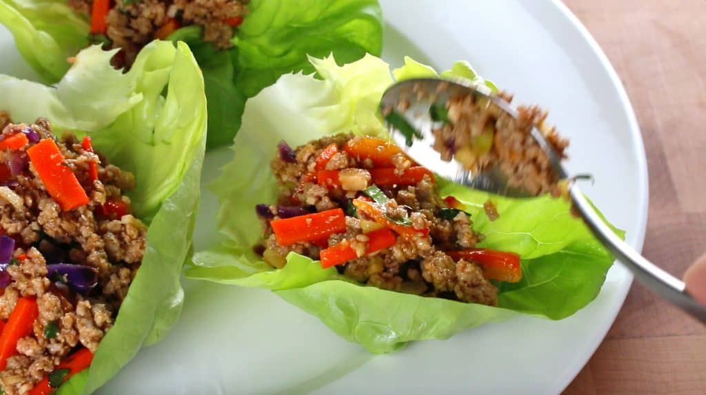 thai lettuce wraps recipe healthy low carb low calorie paleo gluten free easy veal pork chicken beef turkey lemongrass asian bell peppers cabbage carrots nuts cashews peanuts