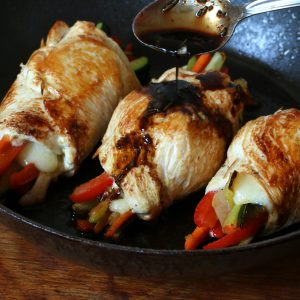 Cheesy Dijon Chicken Rolls with Balsamic Glaze