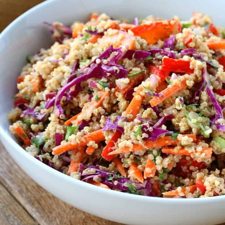 thai quinoa salad recipe peanut sauce dressing