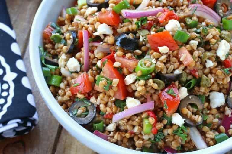 Greek wheat berry salad recipe healthy vegan vegetarian feta cheese olives tomatoes whole grain vegetables