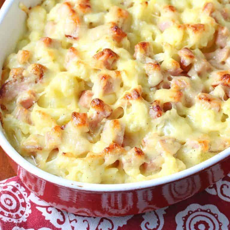 cauliflower gratin recipe ham low carb bechamel cheese parmesan swiss creamy side dish