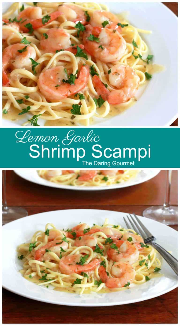 shrimp scampi recipe lemon garlic wine pasta linquine easy fast simple