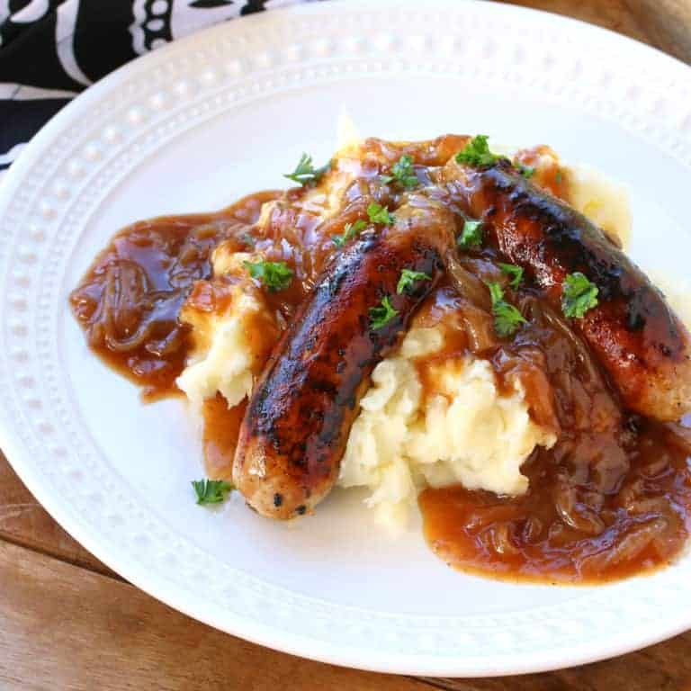 bangers and mash recipe best authentic traditional homemade how to make sausages onion gravy
