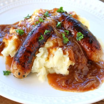 bangers and mash recipe best homemade authentic traditional onion gravy sausages