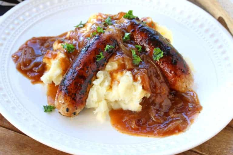 bangers and mash recipe British English authentic traditional