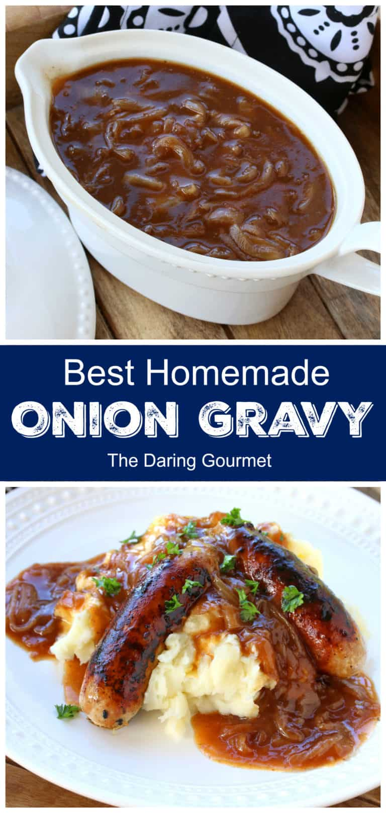 onion gravy recipe best homemade from scratch British English bangers and mash
