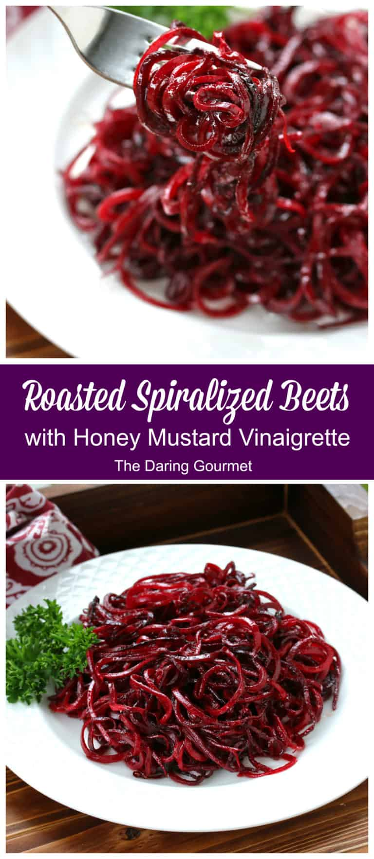 spiralized beets recipe roasted vinaigrette honey mustard healthy easy quick