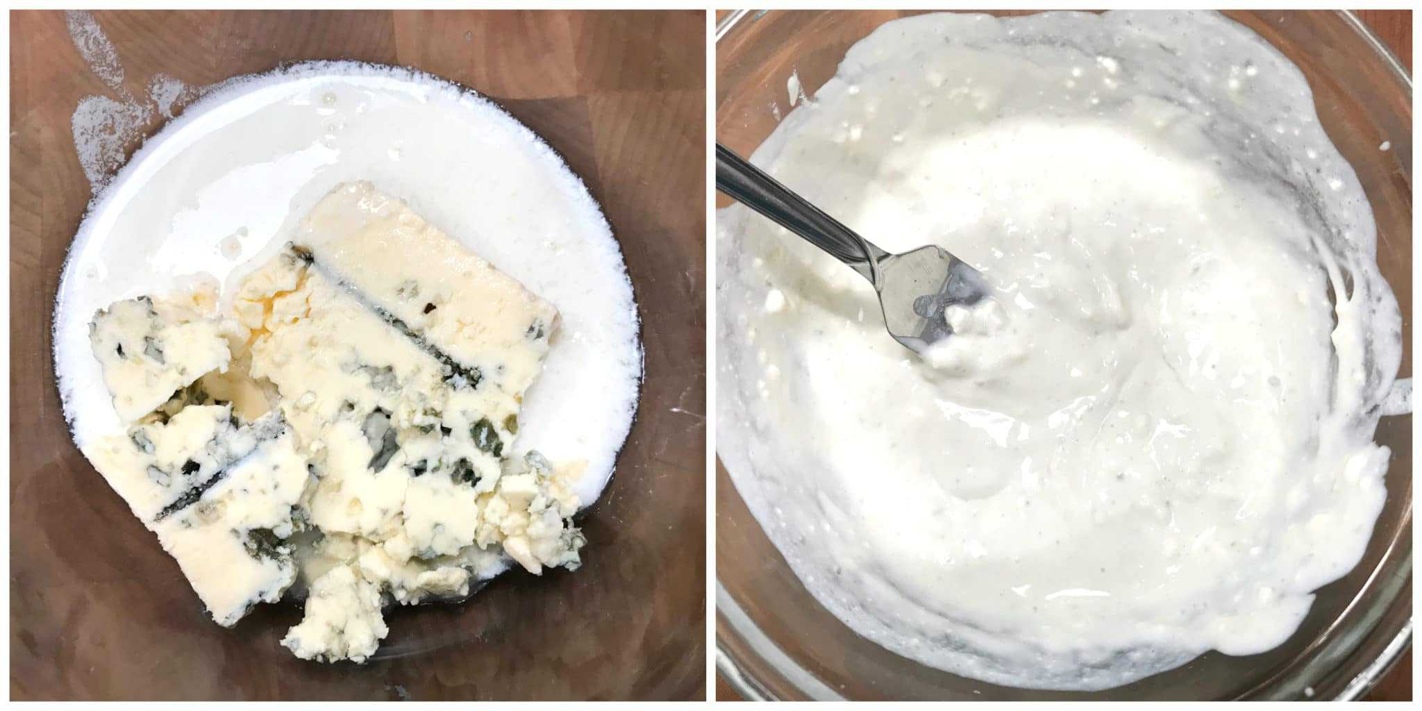 mashing blue cheese and buttermilk to make dressing