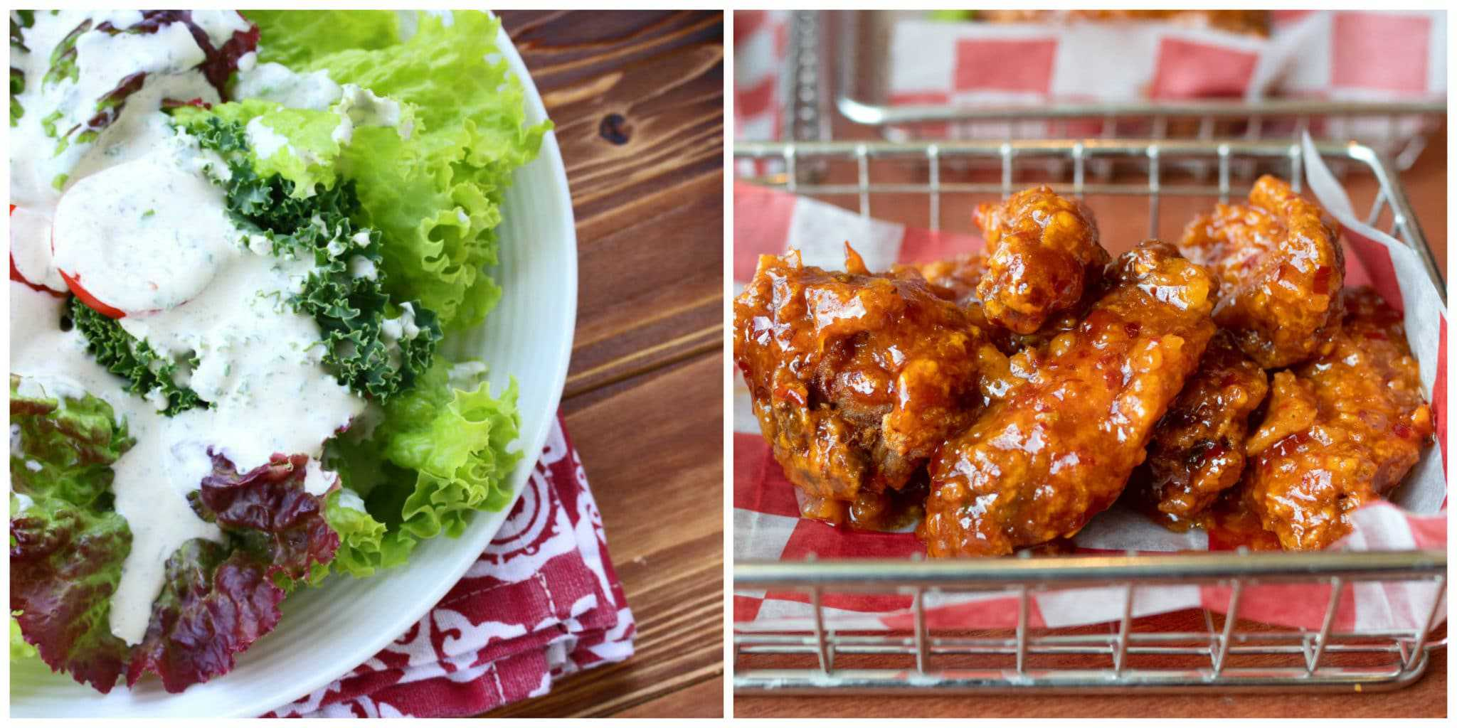 salad buffalo chicken wings