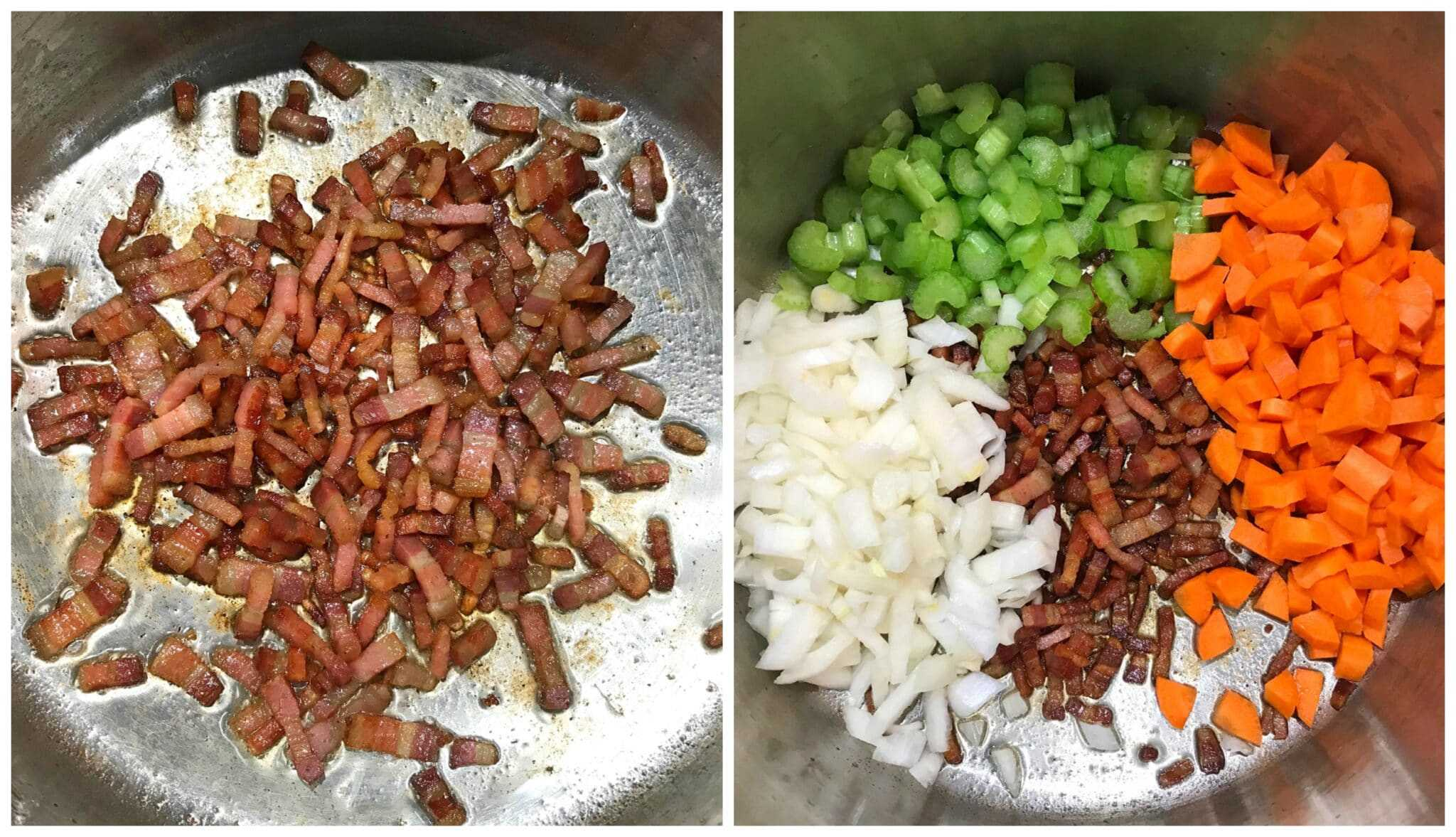 cook bacon and veggies